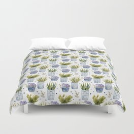 cactus in patterned pots pattern Duvet Cover