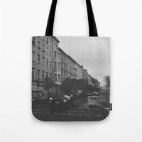 berlin Tote Bags featuring Berlin by Jane Lacey Smith