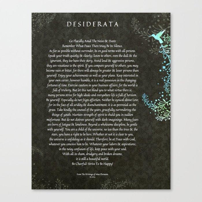 desiderata poem on black chalk board damask with blue hummingbird