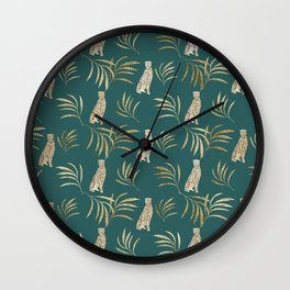 Cheetah Eucalyptus Glam Pattern #3 #tropical #decor #art #society6 Wall Clock