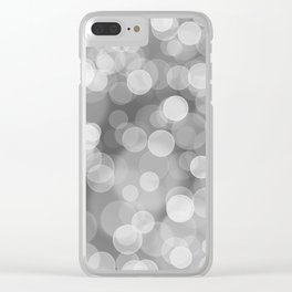 Black and White Silver Bokeh Clear iPhone Case