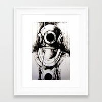 "diver Framed Art Prints featuring ""Diver"" by Scott Lenaway"
