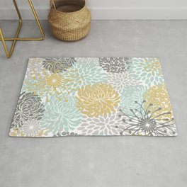 Floral Abstract Print, Yellow, Gray, Aqua Rug