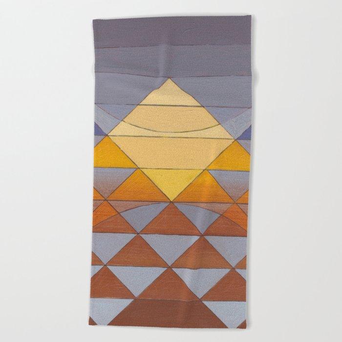 Pyramid Sun Mauve Purple Beach Towel