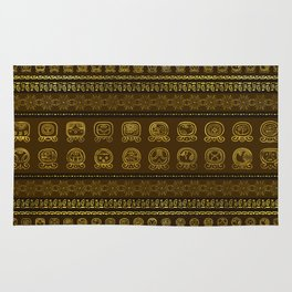Maya Calendar Glyphs pattern Gold on Brown Rug