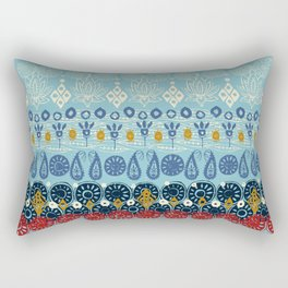 lotus block blue Rectangular Pillow