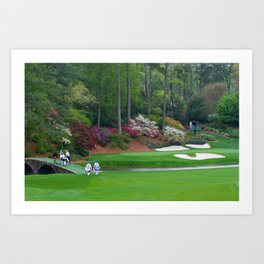 Golf's Amen Corner Augusta Georgia - Golfers on Bridge Art Print