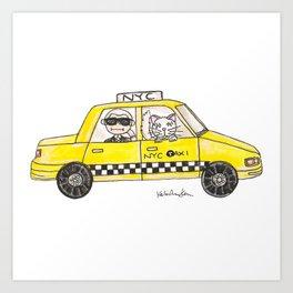Karl in a Cab Art Print