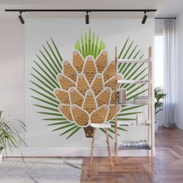 White Pine Cone and Tassel Wall Mural