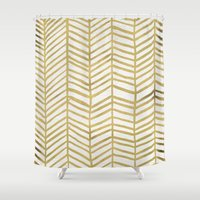 abstract Shower Curtains featuring Gold Herringbone by Cat Coquillette
