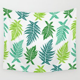 Inked Ferns – Green Palette Wall Tapestry