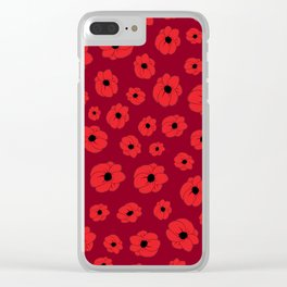 Maroon Poppy Clear iPhone Case