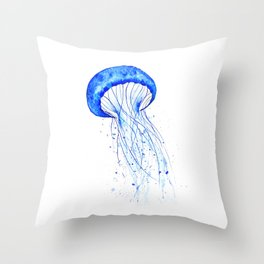 blue jellyfish watercolor Throw Pillow