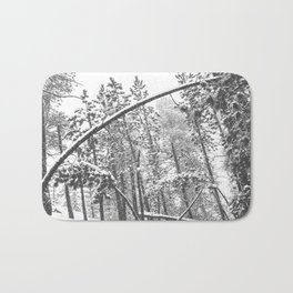 Forest Snowfall // Winter Tree Black and White Landscape Photography Backwoods Woodlands Woods Bath Mat