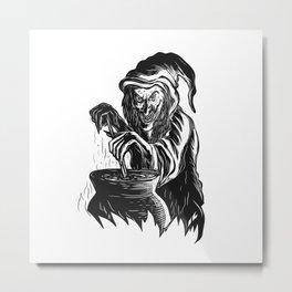 Witch Stirring Brew Pot Scratchboard Metal Print