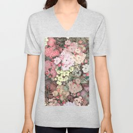 Cherry Blossom Pattern Pink and White Illustrated Unisex V-Neck