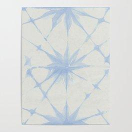 Shibori Starburst Sky Blue on Lunar Gray Poster