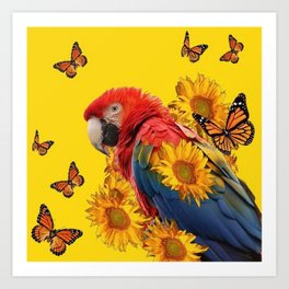 TROPICAL BLUE MACAW & MONARCH BUTTERFLIES SUNFLOWER ART Art Print