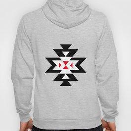 Navajo Aztec Pattern Black White Red on Light Brown Hoody