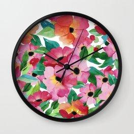 Neon pink orange green watercolor hand painted flowers Wall Clock