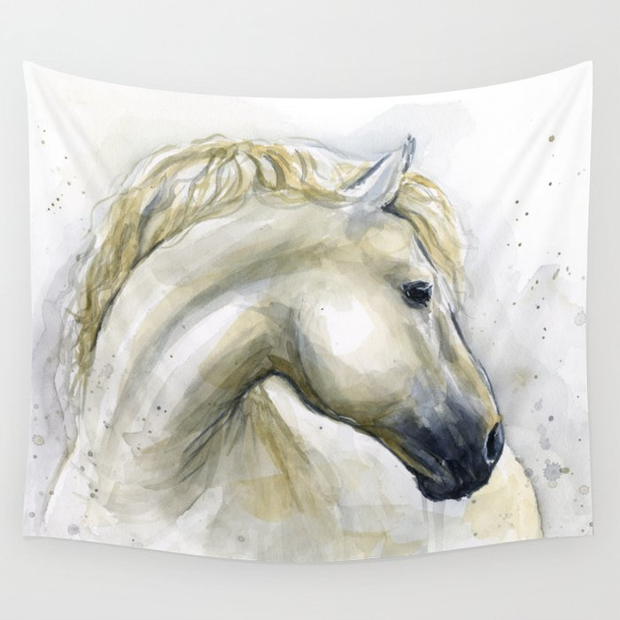 White Horse Watercolor Painting Animal Horses Wall Tapestry