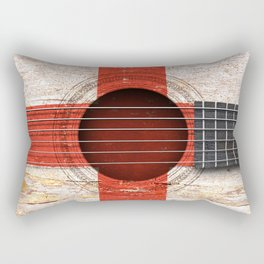 Old Vintage Acoustic Guitar with English Flag Rectangular Pillow