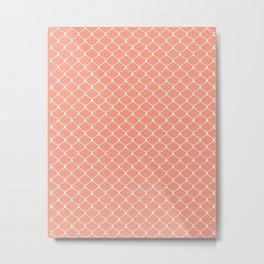Coral Salmon Scales Print Pattern Metal Print