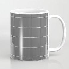Grey and White Grid Mug