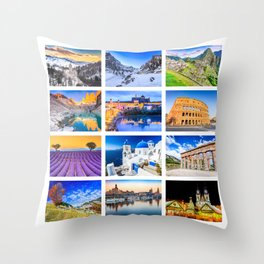World travel collage Throw Pillow