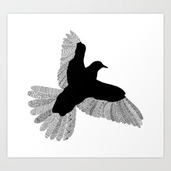 Bird (On White) Art Print