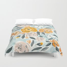 Watercolor Sketch Floral Duvet Cover