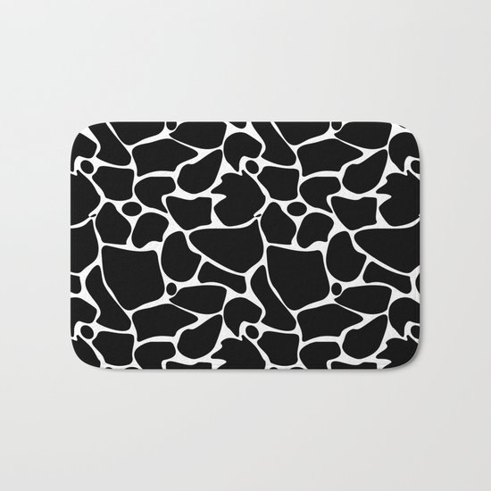 Black and white abstract pattern . Bath Mat