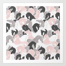 Playing Horses pattern Art Print