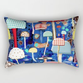 Blue Mushrooms - Zu hause Marine blue Abstract Art Rectangular Pillow
