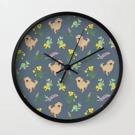 Golden Retriever and Spring Flowers Pattern Print Wall Clock