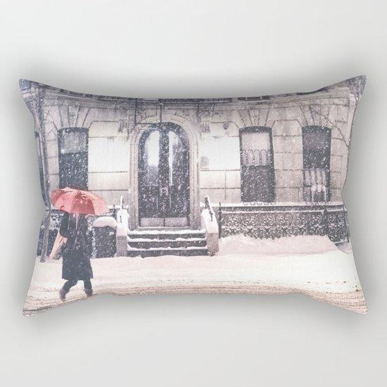 New York City Snow and Red Umbrella Rectangular Pillow