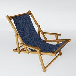 Japanese Blue Wave Seigaiha Indigo Super Moon Pattern Sling Chair