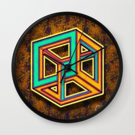 DIFORCE #3 Impossible Triangle Psychedelic Optical Illusion Wall Clock