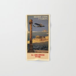 Italian vintage plane travel Brindisi Athens Istanbul Hand & Bath Towel