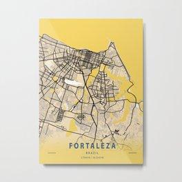 Fortaleza Yellow City Map Metal Print