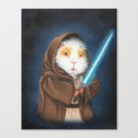 guinea pig Canvas Prints featuring Jedi Guinea Pig by When Guinea Pigs Fly
