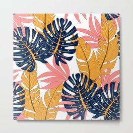 Summer seamless tropical pattern with bright plants and leaves on a delicate background. Colorful stylish floral. Trendy summer Hawaii print. Beautiful print with hand drawn exotic plants. Metal Print