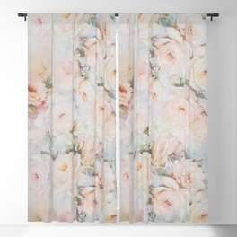 Vintage romantic blush pink ivory elegant rose floral Blackout Curtain