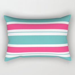 Turquoise And Fuschia Hot Pink Stripes Rectangular Pillow