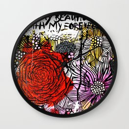 messy floral Wall Clock
