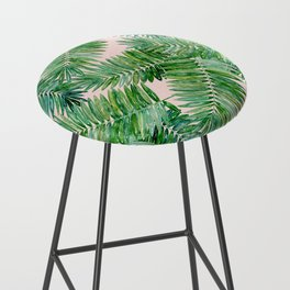Green palm leaves on a light pink background. Bar Stool
