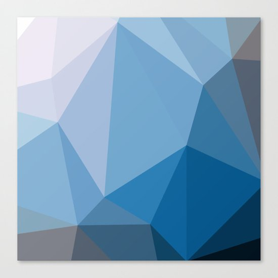 Shades Of Blue Triangle Abstract Canvas Print