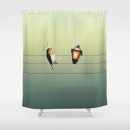 Feeling Wired (Green) Shower Curtain