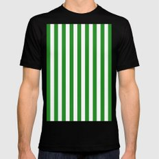 Vertical Stripes (Forest Green/White) Mens Fitted Tee MEDIUM Black