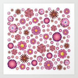 Pink Flowers Pattern Art Print